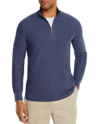 Bloomingdale's Tipped Half - Zip Textured Sweater - Blue