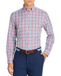 Vineyard Vines Plaid Performance Twill Classic Fit Button - Down Shirt - Blue