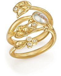 Temple St. Clair - 18k Yellow Gold Royal Blue Moonstone And Diamond Leaf Ring - Lyst