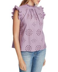1.STATE Eyelet-embroidered Pleated Top - Purple
