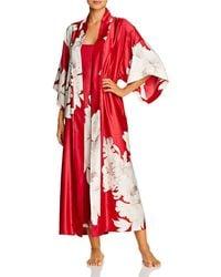 Natori Opulent Satin Printed Robe - Red