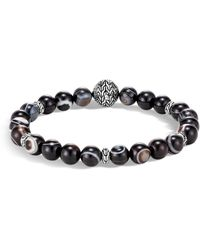 John Hardy Sterling Silver Classic Chain Banded Agate Bead Bracelet - Metallic
