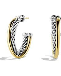 David Yurman - Crossover Small Hoop Earrings With Gold - Lyst