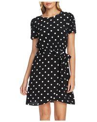 1.STATE Short - Sleeve Dot Print Dress - Black