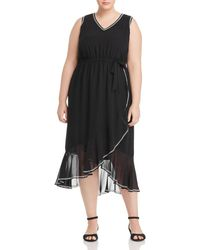 Vince Camuto Signature - Embroidery - Trimmed Midi Dress - Lyst