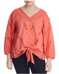 Lucky Brand - Tie-front Eyelet Top - Lyst