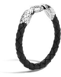 John Hardy Men's Legends Eagle Silver Double Head Bracelet On Woven Black Leather With Black Onyx