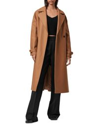 AllSaints Wilma Double Breasted Wool Blend Coat - Brown