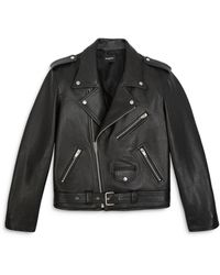 The Kooples Leather Moto Jacket - Black