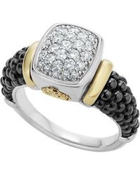 Lagos - Black Caviar Ceramic 18k Gold And Sterling Silver Ring With Diamonds - Lyst