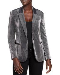 T Tahari Metallic Blazer - Grey