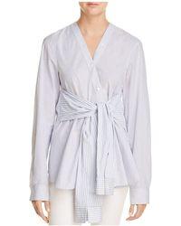 T By Alexander Wang - Tie-waist Striped Shirt - Lyst