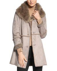 Basler Faux - Fur Trimmed Coat - Multicolour