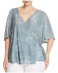 Lucky Brand - Leaf Chevron Print Wrap Top - Lyst