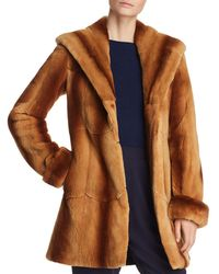 Maximilian Hooded Plucked Mink Fur Coat - Brown