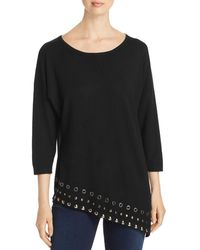 Sioni Embellished Slant - Hem Top - Black