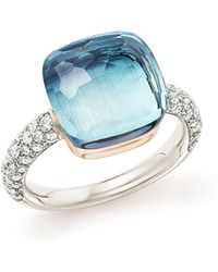 Pomellato   Nudo Maxi Ring With Faceted Blue Topaz And Diamonds In 18k White And Rose Gold   Lyst