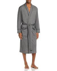 Daniel Buchler Contrast - Piped Cotton Robe - Grey