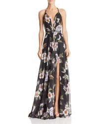 Faviana Floral-print Halter Gown With Lace-up Tie-back - Black