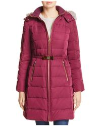 Kate Spade Belted Faux Fur Trim Down Coat - Red
