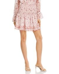 Aqua Toile Floral Print Smocked Mini Skirt - Pink