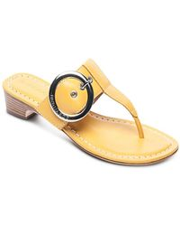 Bernardo - Women's Leather Buckle Block Heel Thong Sandals - Lyst