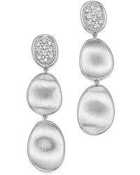 Marco Bicego - 18k White Gold Lunaria Diamond Triple Drop Earrings - Lyst