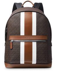 Michael Kors Logo Print Varsity Stripe Backpack - Brown