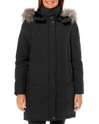 Vince Camuto Flash Faux Fur Trim Puffer Coat - Black