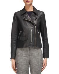 Whistles Agnes Leather Moto Jacket - Black