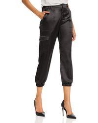 Aqua Satin Cargo Jogger Pants - Black