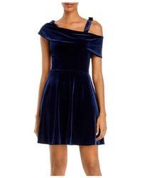 Aqua Asymmetric Velvet Fit - And - Flare Dress - Blue