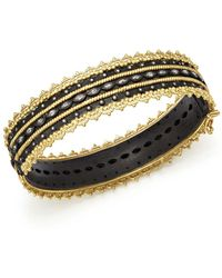 Armenta - 18k Yellow Gold And Blackened Sterling Silver Old World Diamond And White Sapphire Scalloped Edge Bangle - Lyst