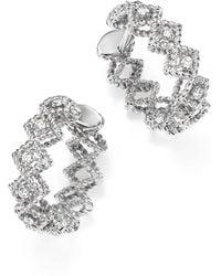 Roberto Coin - 18k White Gold Gold New Barocco Diamond Hoop Earrings - Lyst