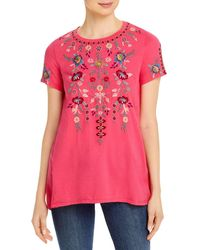 Johnny Was Nya Short Sleeve A Line Top - Pink
