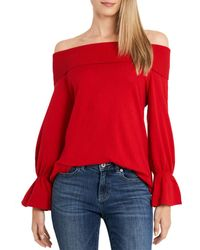 Cece Off - The - Shoulder Sweater - Red