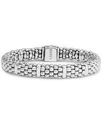 Lagos Sterling Silver Caviar Beaded Rope Bracelet - Metallic