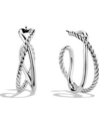 David Yurman - Cable Accented Hoop Earrings - Lyst