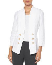 Misook Tailored Knit Blazer - White