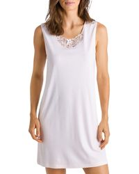Hanro Embroidered Sleeveless Cotton Nightgown - White