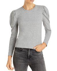 Aqua Puff Long Sleeve Knit Top - Grey