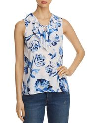 Karl Lagerfeld Floral - Print Lace - Up Tank - Blue