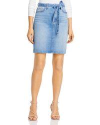 7 For All Mankind Jen7 By Tie - Waist Denim Pencil Skirt In Laquinta - Blue