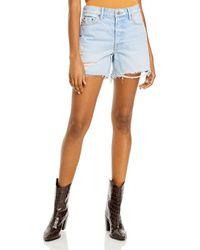 GRLFRND Jourdan Distressed High Rise Cutoff Shorts In Say It First - Blue