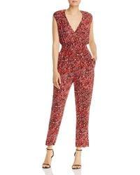 Aqua Smocked - Waist Leopard Print Jumpsuit - Red