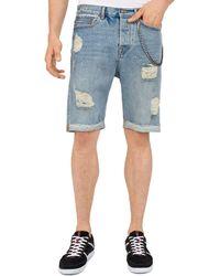 The Kooples - Destroyed Denim Shorts In Blue - Lyst