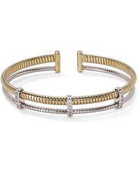 Nadri Omega Two - Tone Open Cuff Bracelet - Metallic