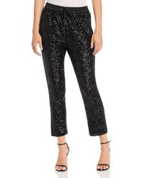 Parker Conner Satin - Striped Cropped Sequin Trousers - Black