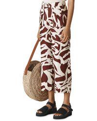 Whistles Ella Zebra Print Cropped Linen Pants - Brown