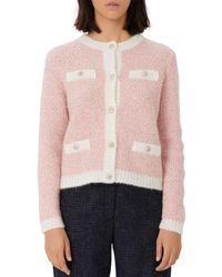 Maje Morning Lurex Sequined Cardigan - Pink